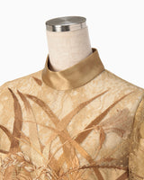 Botanical Embroidery Leaver Lace Blouse - beige