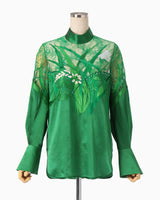 Botanical Embroidery Leaver Lace Blouse - green