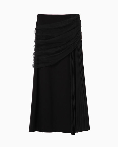 Mixed Fabric Layered Skirt - black