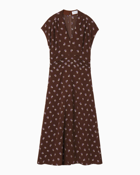 French Sleeve Dress With Small Flower Embroidery - brown