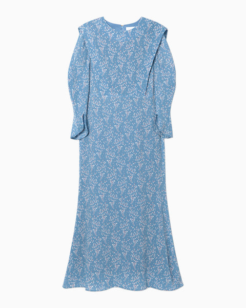 Flower Hand-Printed Tucked Dress - blue