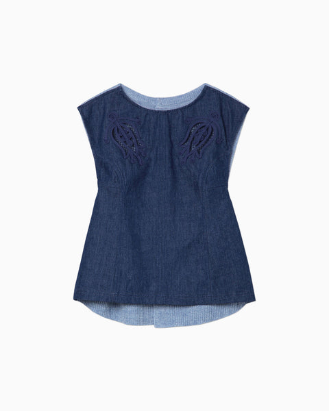 Embroidered Denim Top - blue