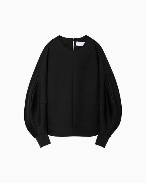 Double Face Jersey Pullover - black