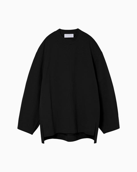 Oversized Cotton Long Sleeve Top - black