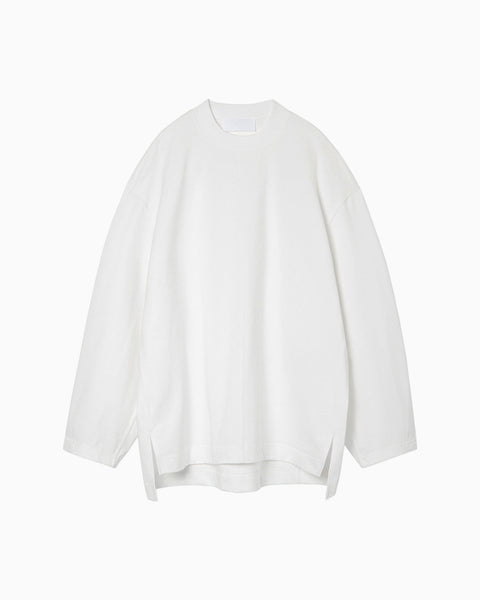 Oversized Cotton Long Sleeve Top - white