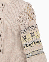 Cotton Nordic Knit Cardigan - beige