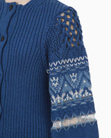 Cotton Nordic Knit Cardigan - blue