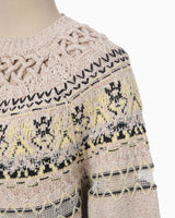 Cotton Nordic Knit Pullover - beige