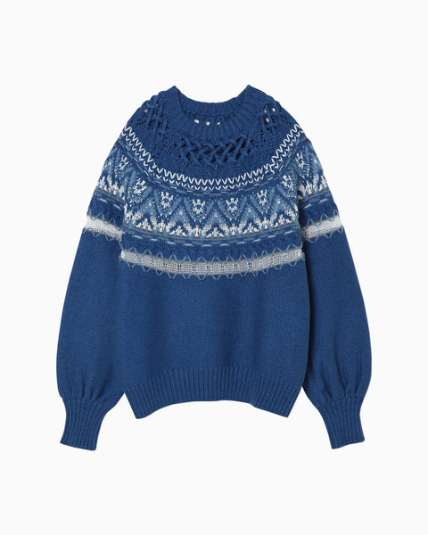 Cotton Nordic Knit Pullover - blue