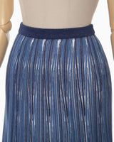 Ribbed Knit Flare Skirt - blue