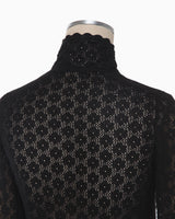 Knitted Lace Top - black
