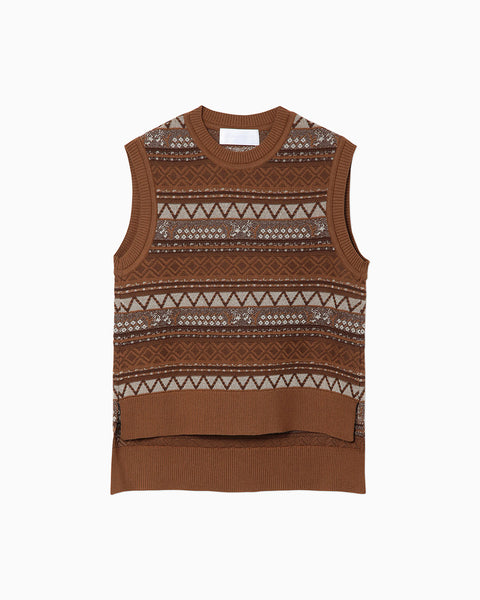 Multi-Colour Jacquard Knit Vest - brown