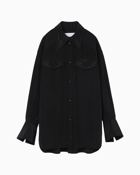 Embroidered Shirt With Enlarged Cuff - black