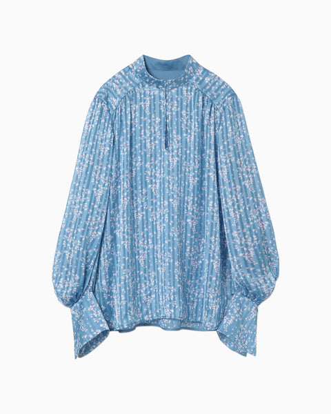 Flower Hand-Printed Crepe Blouse - blue