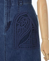 Embroidered Denim Skirt - blue