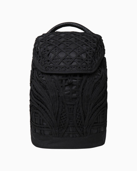 Cording Embroidery Backpack - black