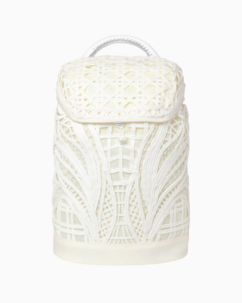Cording Embroidery Backpack - white