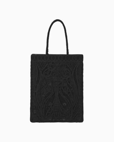Cording Embroidery Tote Bag - black