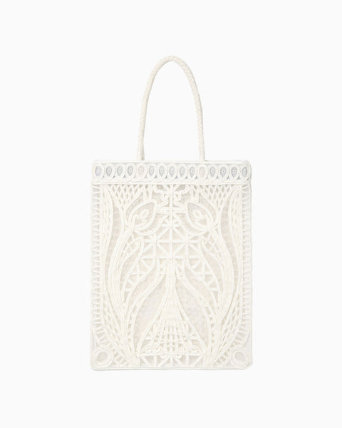 Cording Embroidery Tote Bag - white