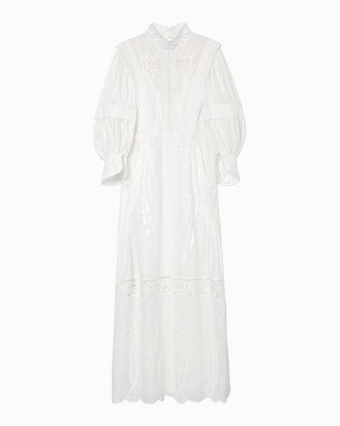 Silk Cotton Botanical Embroidery Dress - white