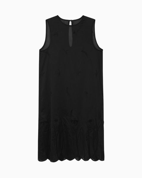Silk Cotton Botanical Embroidery Sleeveless Dress - black