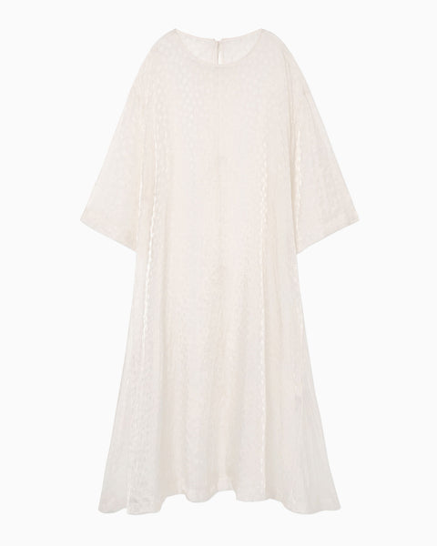 Silk Nylon Floral Jacquard Sheer Dress - white