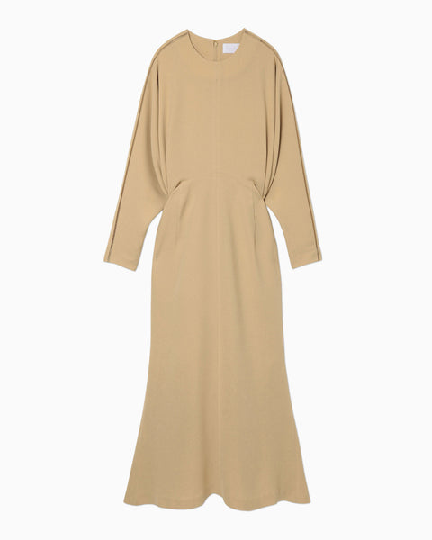 Stitched Sleeve Classic Dress - beige