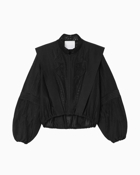 Silk Cotton Botanical Embroidery Jacket - black