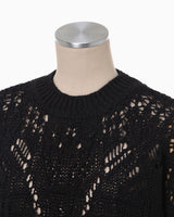 Curtain Lace Pattern Knitted Pullover - black