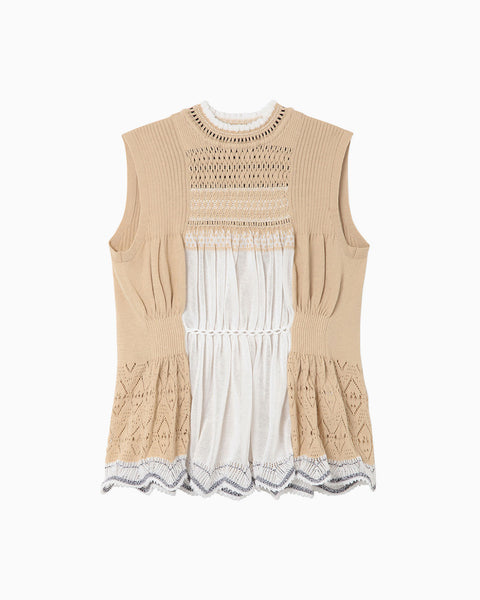 Curtain Motif Knitted Vest - beige