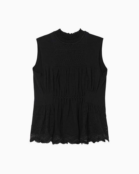 Curtain Motif Knitted Vest - black