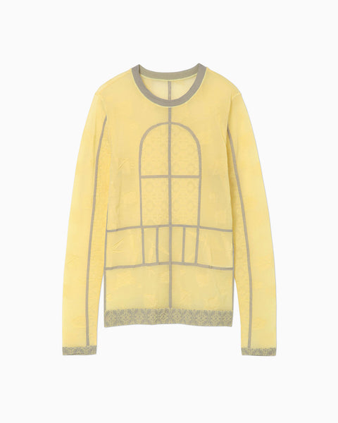 Frosted Glass Graphic Knitted Top - yellow
