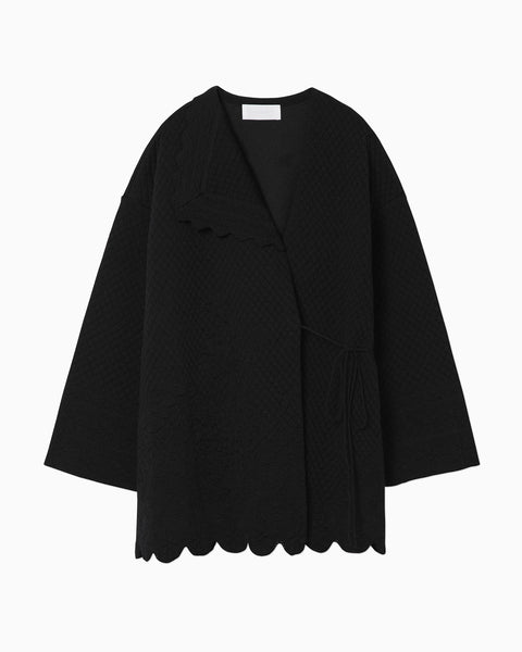 Scallop Cut Knitted Jacket - black