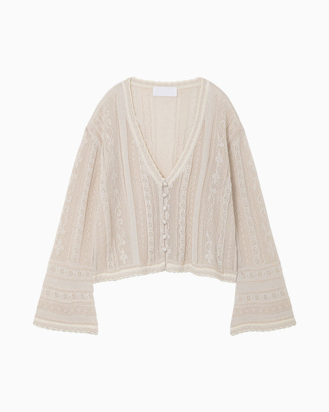 Traditional Curtain Lace Knitted Cardigan - beige