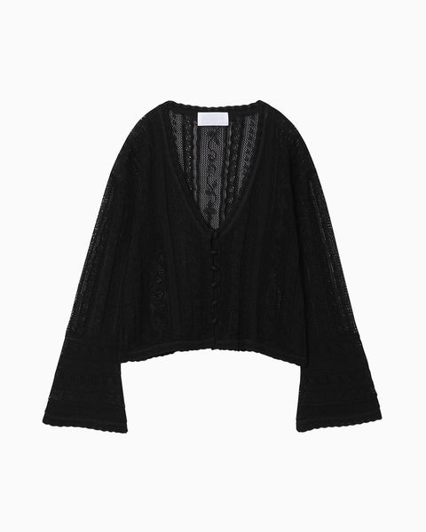 Traditional Curtain Lace Knitted Cardigan - black