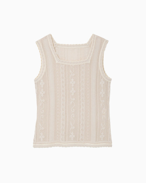Traditional Curtain Lace Knitted Top - beige