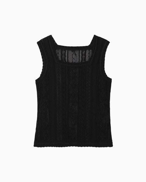 Traditional Curtain Lace Knitted Top - black