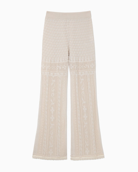 Traditional Curtain Lace Knitted Trousers - beige