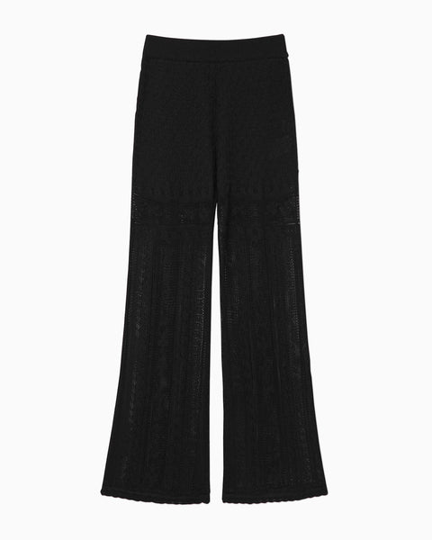 Traditional Curtain Lace Knitted Trousers - black
