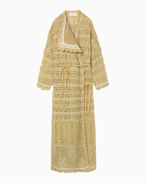 Floral Watermark Wrap-Front Knitted Dress - yellow
