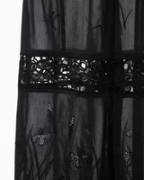 Silk Cotton Botanical Embroidery Trousers - black