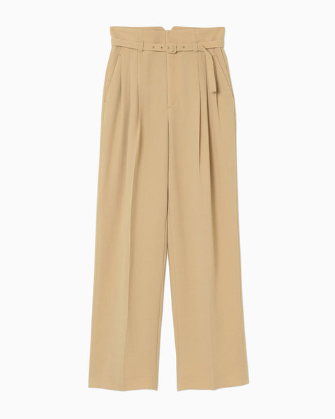 Belted Tapered Trousers - beige