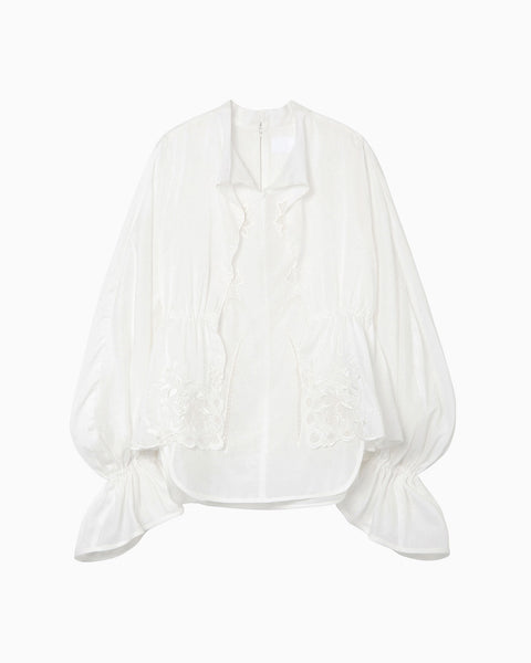 Silk Cotton Botanical Embroidery Shirt - white