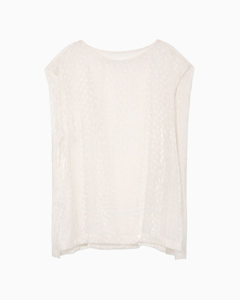 Silk Nylon Floral Jacquard Sheer Top - white
