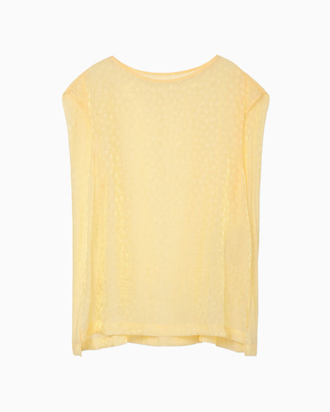 Silk Nylon Floral Jacquard Sheer Top - yellow