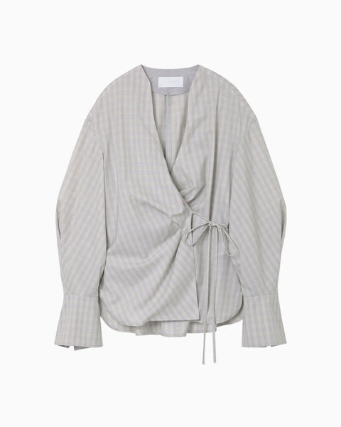 Summer Wool Plaid Wrap-Front Top - grey