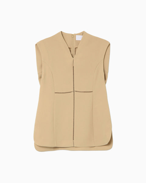 Stitched Sleeveless Top - beige