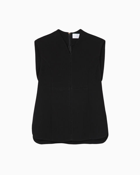 Stitched Sleeveless Top - black