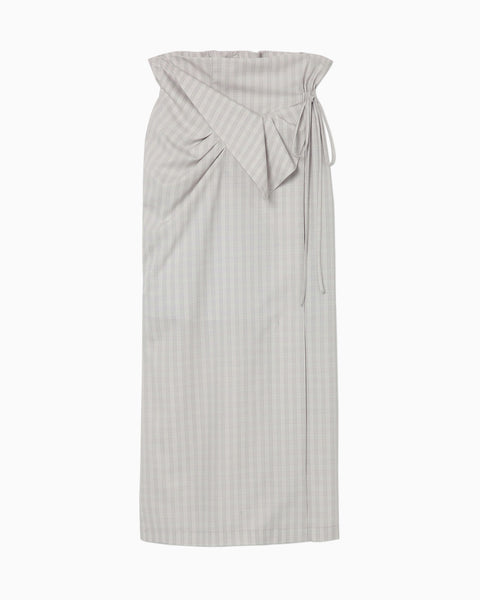 Summer Wool Plaid Front Slit Skirt - grey