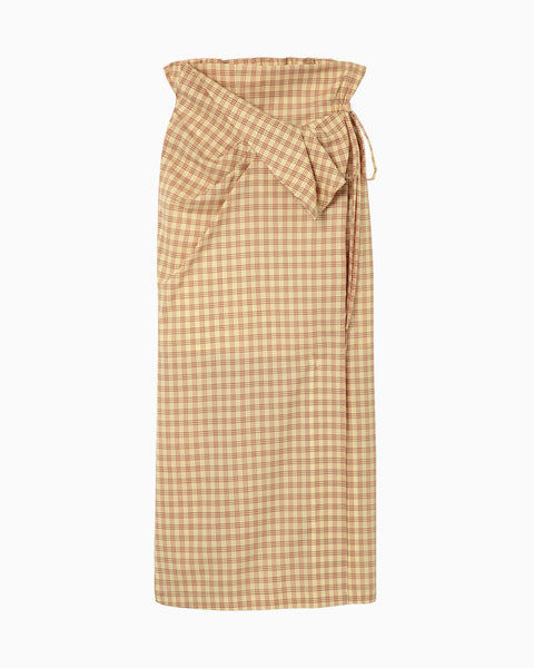 Summer Wool Plaid Front Slit Skirt - yellow